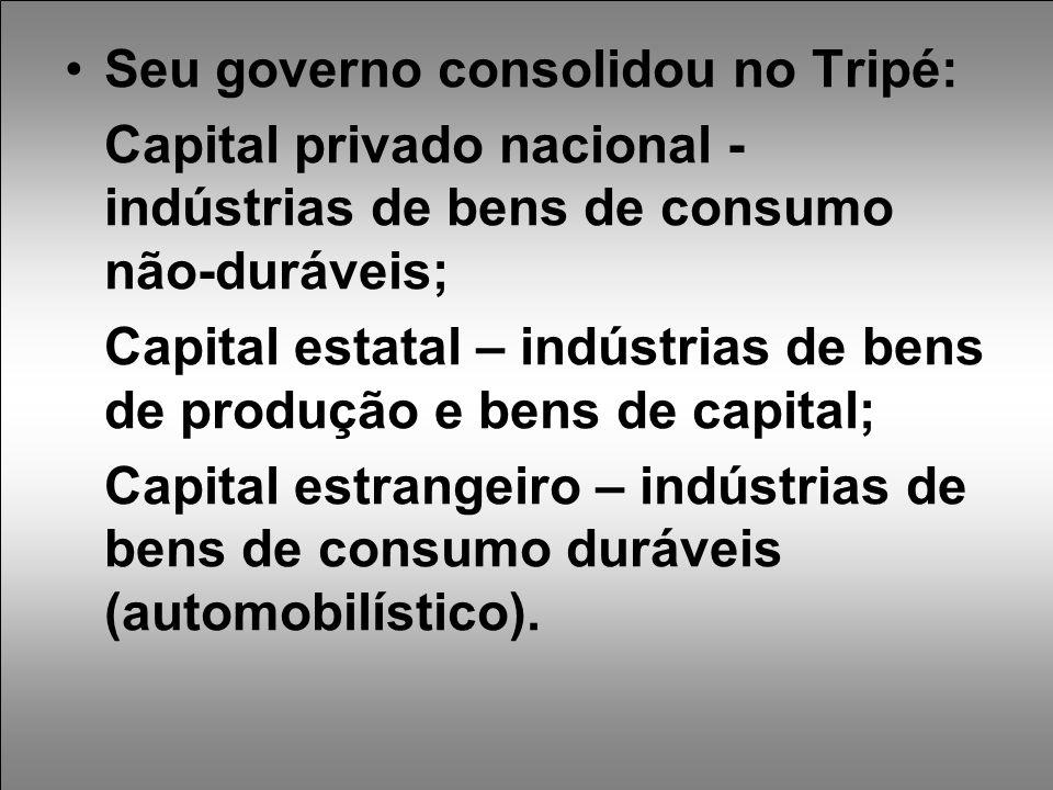 Seu governo consolidou no Tripé: Capital privado nacional - indústrias de bens de consumo não-duráveis; Capital estatal – indústrias de bens de produção e bens de capital; Capital estrangeiro – indústrias de bens de consumo duráveis (automobilístico).