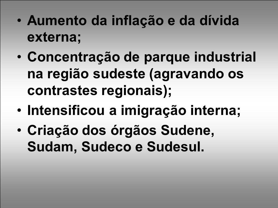 Aumento da inflação e da dívida externa; Concentração de parque industrial na região sudeste (agravando os contrastes regionais); Intensificou a imigração interna; Criação dos órgãos Sudene, Sudam, Sudeco e Sudesul.