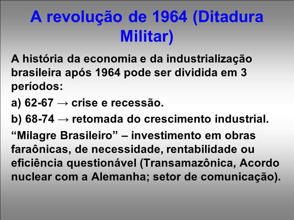 A revolução de 1964 (Ditadura Militar) A história da economia e da industrialização brasileira após 1964 pode ser dividida em 3 períodos: a) 62-67 → crise e recessão.