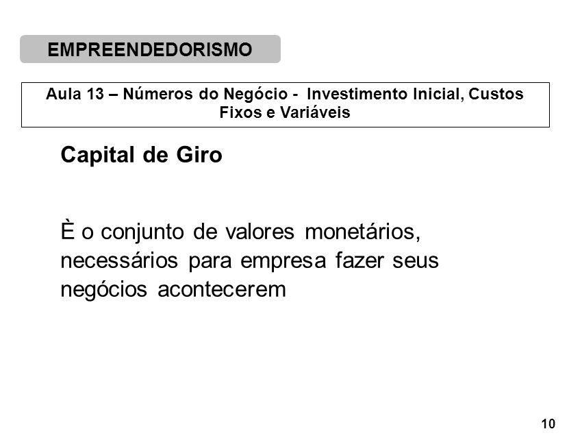 EMPREENDEDORISMO 10 Aula 13 – Números do Negócio - Investimento Inicial, Custos Fixos e Variáveis Capital de Giro È o conjunto de valores monetários, necessários para empresa fazer seus negócios acontecerem