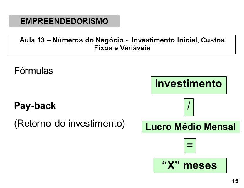 EMPREENDEDORISMO 15 Aula 13 – Números do Negócio - Investimento Inicial, Custos Fixos e Variáveis Investimento / Lucro Médio Mensal = X meses Fórmulas Pay-back (Retorno do investimento)