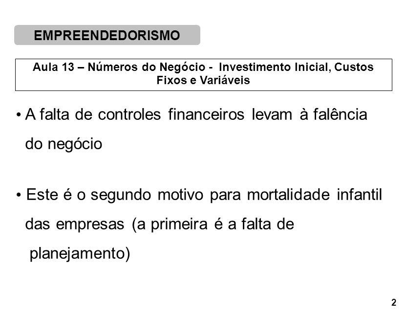 EMPREENDEDORISMO 2 Aula 13 – Números do Negócio - Investimento Inicial, Custos Fixos e Variáveis A falta de controles financeiros levam à falência do negócio Este é o segundo motivo para mortalidade infantil das empresas (a primeira é a falta de planejamento)