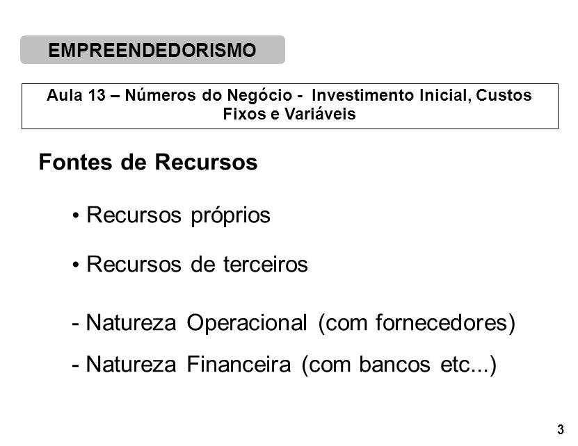 EMPREENDEDORISMO 3 Aula 13 – Números do Negócio - Investimento Inicial, Custos Fixos e Variáveis Fontes de Recursos Recursos próprios Recursos de terceiros - Natureza Operacional (com fornecedores) - Natureza Financeira (com bancos etc...)