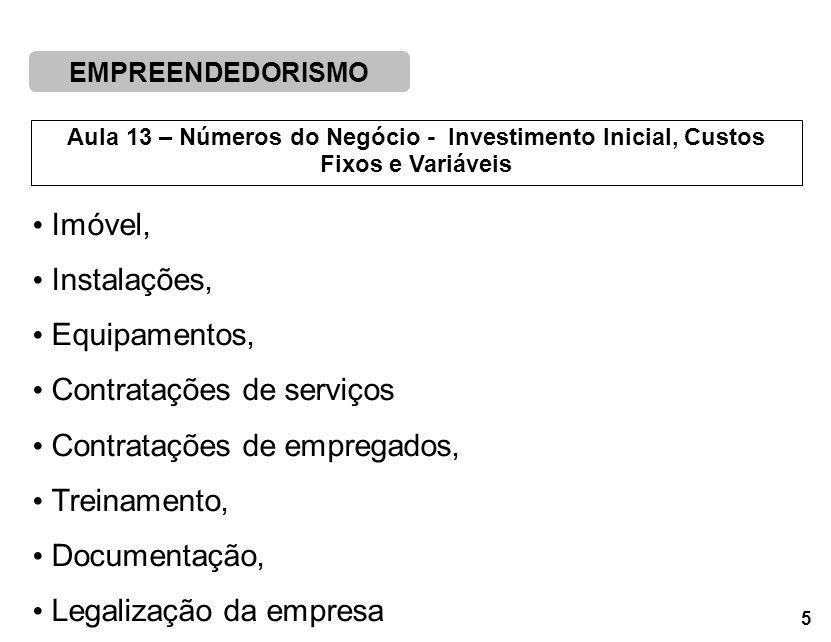 EMPREENDEDORISMO 5 Aula 13 – Números do Negócio - Investimento Inicial, Custos Fixos e Variáveis Imóvel, Instalações, Equipamentos, Contratações de serviços Contratações de empregados, Treinamento, Documentação, Legalização da empresa
