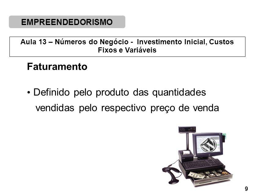 EMPREENDEDORISMO 9 Aula 13 – Números do Negócio - Investimento Inicial, Custos Fixos e Variáveis Faturamento Definido pelo produto das quantidades vendidas pelo respectivo preço de venda