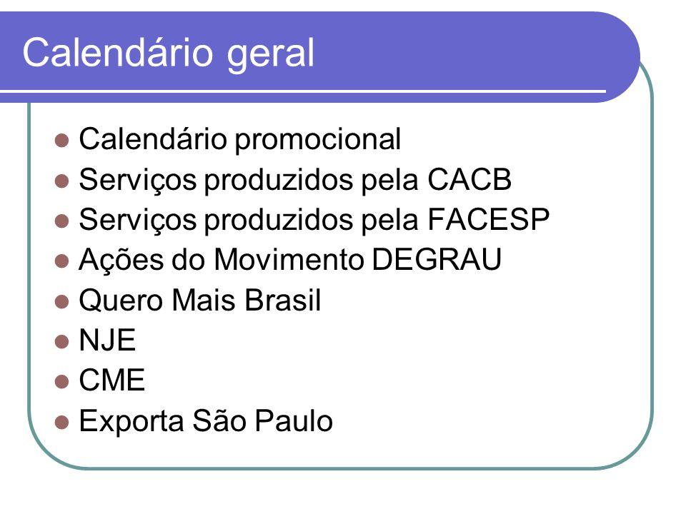 Calendário geral Calendário promocional Serviços produzidos pela CACB Serviços produzidos pela FACESP Ações do Movimento DEGRAU Quero Mais Brasil NJE CME Exporta São Paulo
