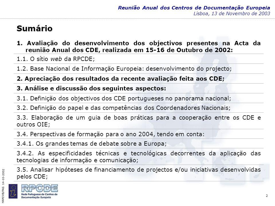 3 Reunião Anual dos Centros de Documentação Europeia Lisboa, 13 de Novembro de 20031 Avaliação do desenvolvimento dos objectivos presentes na Acta da Reunião Anual dos CDE, realizada em 15-16 de Outubro de 2002 HAM/VB/PAS 14-10-2002
