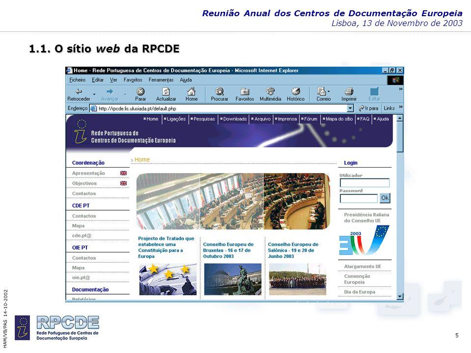 6 HAM/VB/PAS 14-10-2002 Reunião Anual dos Centros de Documentação Europeia Lisboa, 13 de Novembro de 20031.2 Base Nacional de Informação Europeia: desenvolvimento do projecto