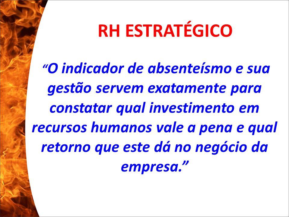 Clique para editar o estilo do subtítulo mestre 13/10/10 O indicador de absenteísmo e sua gestão servem exatamente para constatar qual investimento em recursos humanos vale a pena e qual retorno que este dá no negócio da empresa. RH ESTRATÉGICO