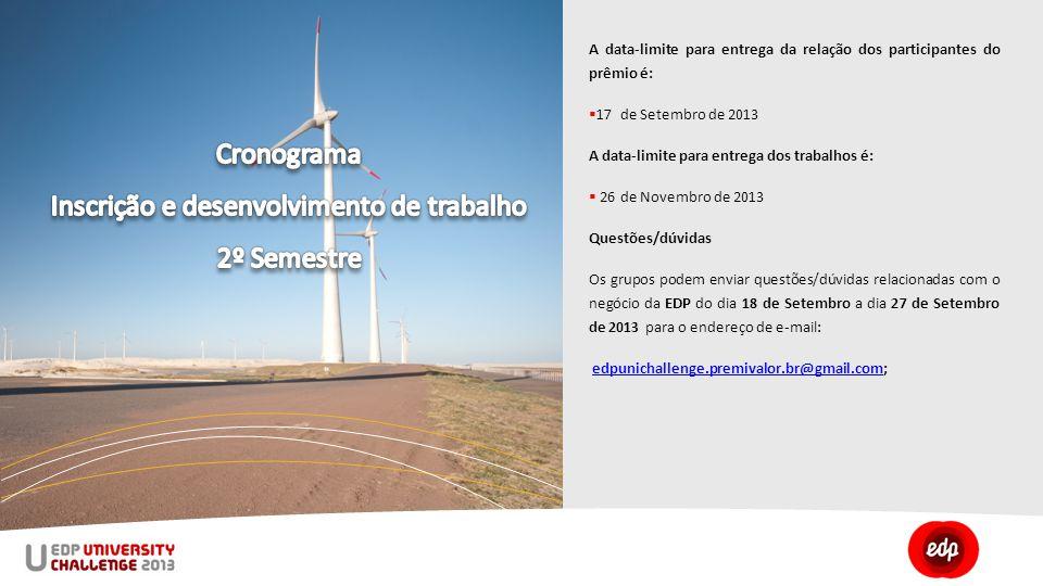 A data-limite para entrega da relação dos participantes do prêmio é:  17 de Setembro de 2013 A data-limite para entrega dos trabalhos é:  26 de Novembro de 2013 Questões/dúvidas Os grupos podem enviar questões/dúvidas relacionadas com o negócio da EDP do dia 18 de Setembro a dia 27 de Setembro de 2013 para o endereço de e-mail: edpunichallenge.premivalor.br@gmail.com;edpunichallenge.premivalor.br@gmail.com
