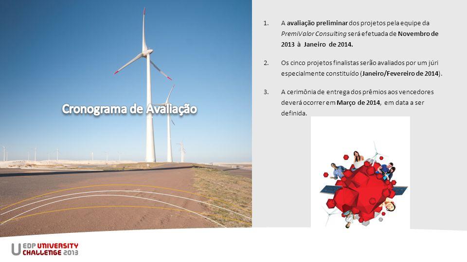 1.A avaliação preliminar dos projetos pela equipe da PremiValor Consulting será efetuada de Novembro de 2013 à Janeiro de 2014.