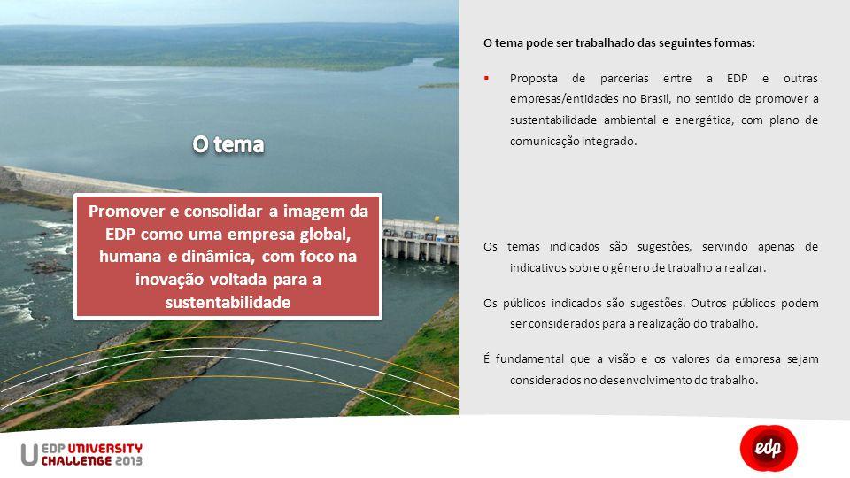 O tema pode ser trabalhado das seguintes formas:  Proposta de parcerias entre a EDP e outras empresas/entidades no Brasil, no sentido de promover a sustentabilidade ambiental e energética, com plano de comunicação integrado.