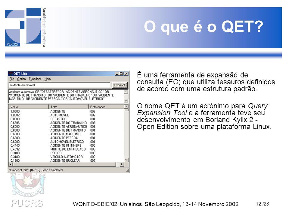 WONTO-SBIE'02. Unisinos. São Leopoldo, 13-14 Novembro 2002 12 /28 O que é o QET? É uma ferramenta de expansão de consulta (EC) que utiliza tesauros de