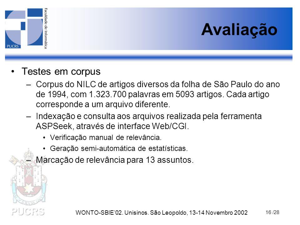 WONTO-SBIE'02. Unisinos. São Leopoldo, 13-14 Novembro 2002 16 /28 Avaliação Testes em corpus –Corpus do NILC de artigos diversos da folha de São Paulo