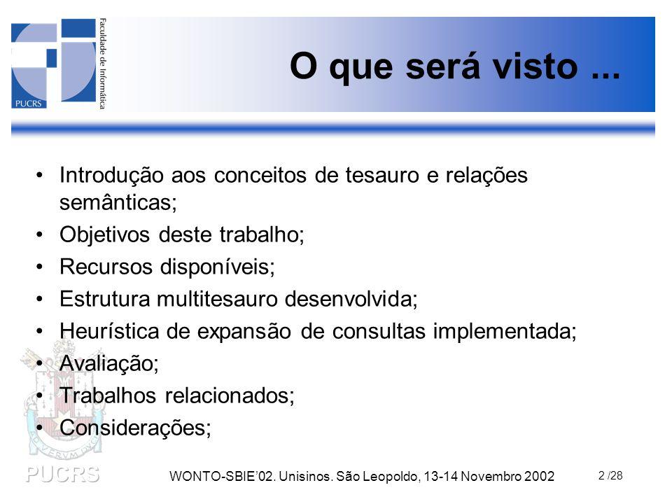 WONTO-SBIE'02.Unisinos. São Leopoldo, 13-14 Novembro 2002 3 /28 O que é um tesauro.