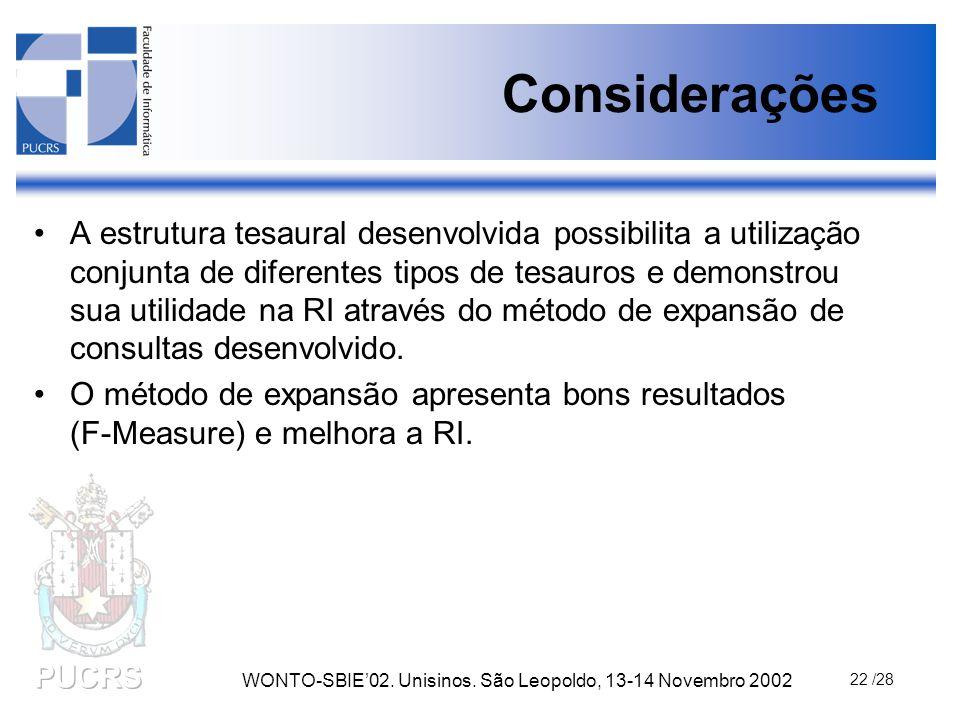 WONTO-SBIE'02. Unisinos. São Leopoldo, 13-14 Novembro 2002 22 /28 Considerações A estrutura tesaural desenvolvida possibilita a utilização conjunta de