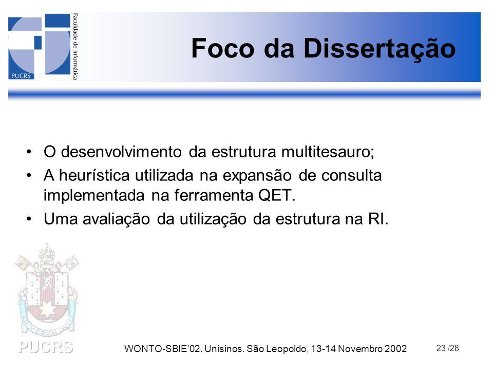 WONTO-SBIE'02. Unisinos. São Leopoldo, 13-14 Novembro 2002 23 /28 Foco da Dissertação O desenvolvimento da estrutura multitesauro; A heurística utiliz