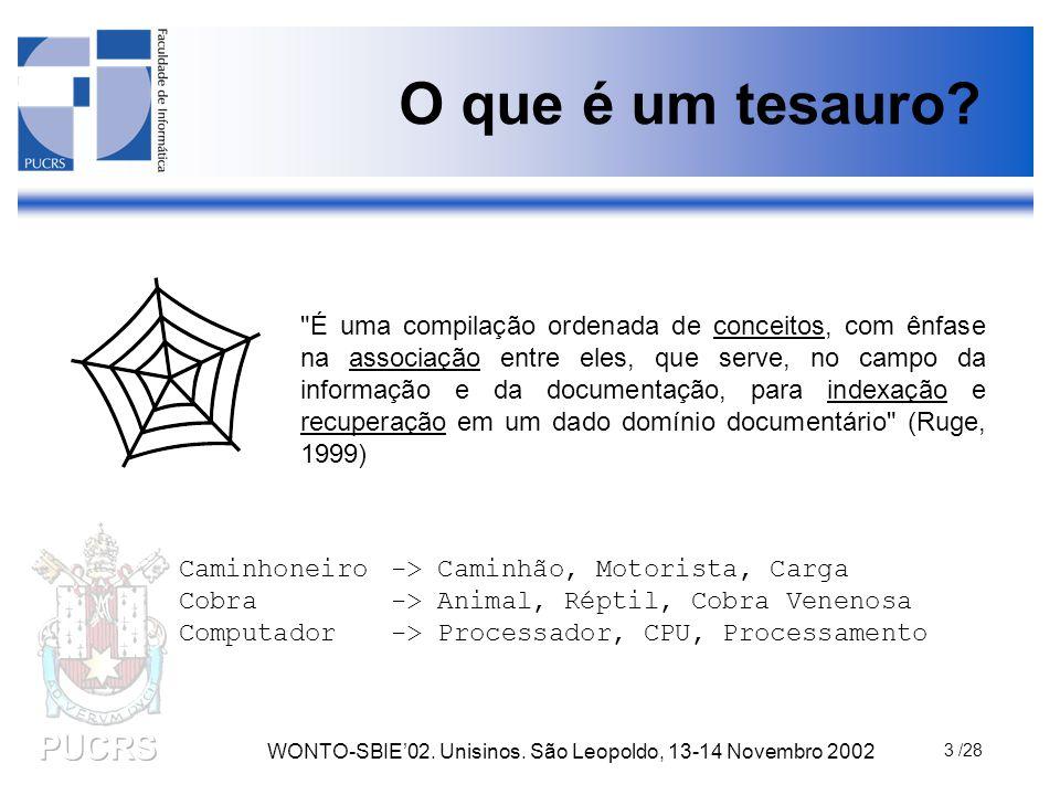 WONTO-SBIE'02. Unisinos. São Leopoldo, 13-14 Novembro 2002 3 /28 O que é um tesauro?