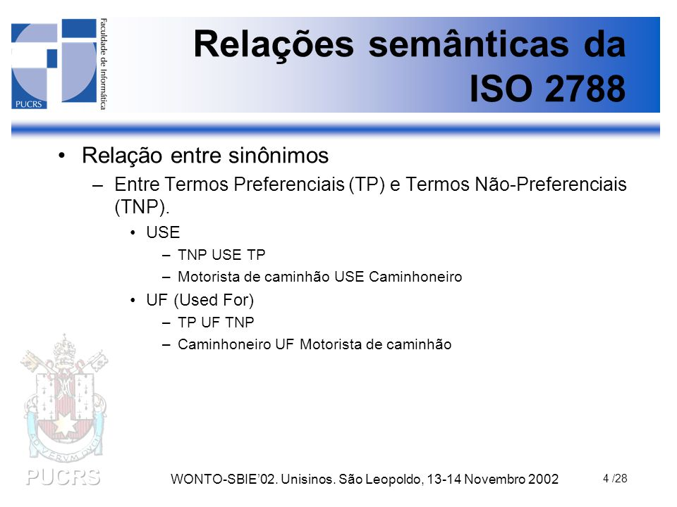WONTO-SBIE'02. Unisinos. São Leopoldo, 13-14 Novembro 2002 4 /28 Relações semânticas da ISO 2788 Relação entre sinônimos –Entre Termos Preferenciais (