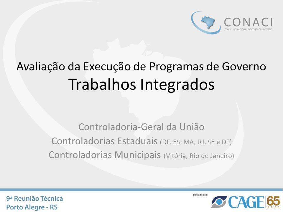 Avaliação da Execução de Programas de Governo Trabalhos Integrados Controladoria-Geral da União Controladorias Estaduais (DF, ES, MA, RJ, SE e DF) Con