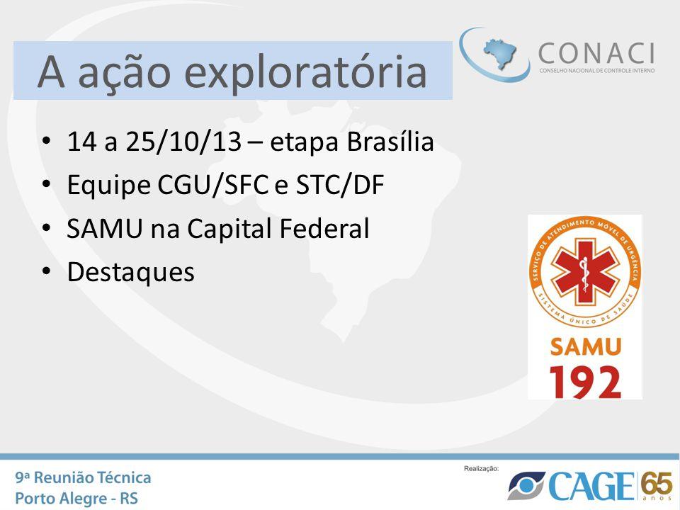 A ação exploratória 14 a 25/10/13 – etapa Brasília Equipe CGU/SFC e STC/DF SAMU na Capital Federal Destaques