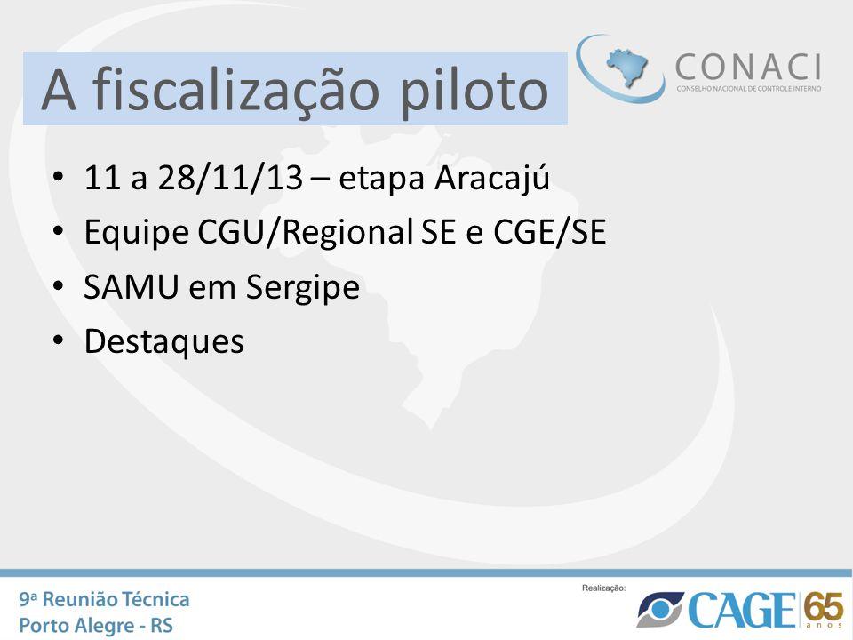 A fiscalização piloto 11 a 28/11/13 – etapa Aracajú Equipe CGU/Regional SE e CGE/SE SAMU em Sergipe Destaques