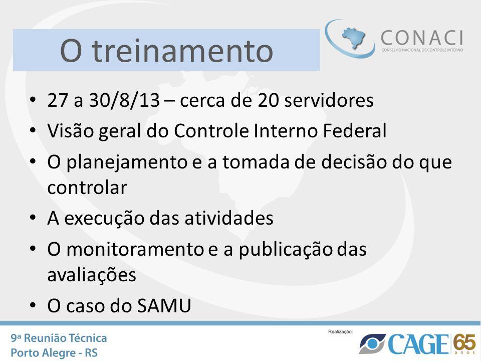 O treinamento 27 a 30/8/13 – cerca de 20 servidores Visão geral do Controle Interno Federal O planejamento e a tomada de decisão do que controlar A ex