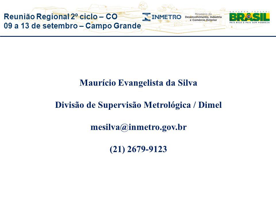 Reunião Regional 2º ciclo – CO 09 a 13 de setembro – Campo Grande Maurício Evangelista da Silva Divisão de Supervisão Metrológica / Dimel mesilva@inme