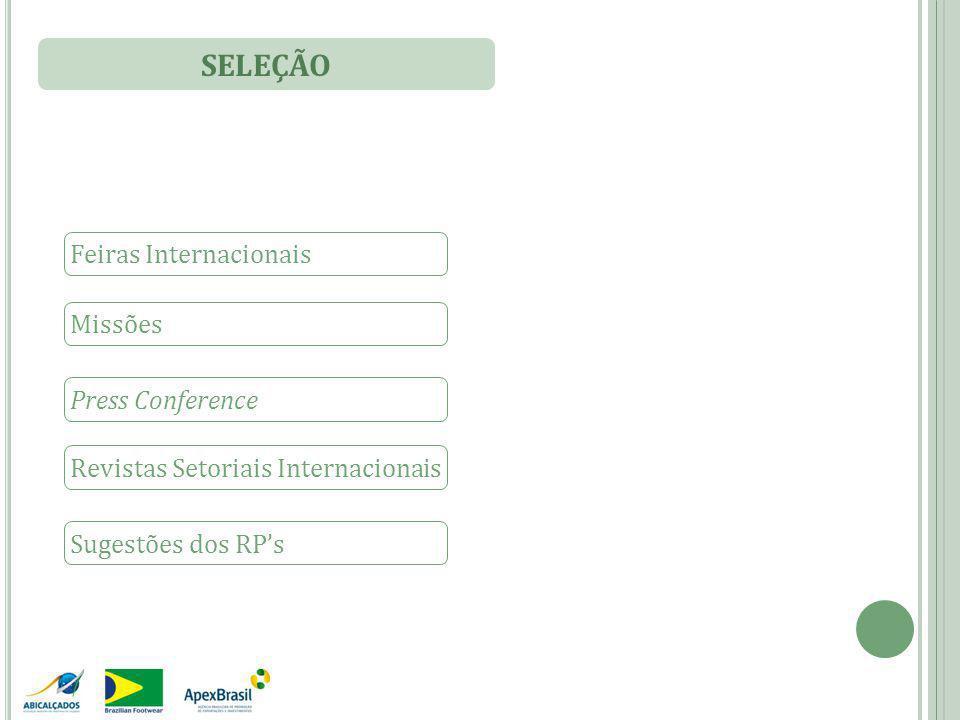 SELEÇÃO Feiras Internacionais Missões Press Conference Revistas Setoriais Internacionais Sugestões dos RP's