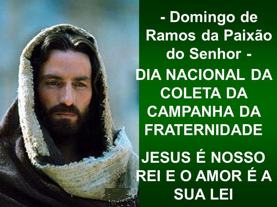DIA NACIONAL DA COLETA DA CAMPANHA DA FRATERNIDADE JESUS É NOSSO REI E O AMOR É A SUA LEI - Domingo de Ramos da Paixão do Senhor -