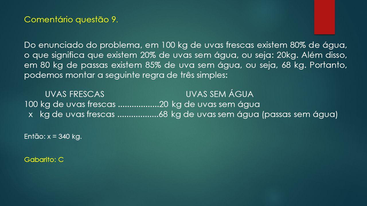 Comentário questão 9. Do enunciado do problema, em 100 kg de uvas frescas existem 80% de água, o que significa que existem 20% de uvas sem água, ou se