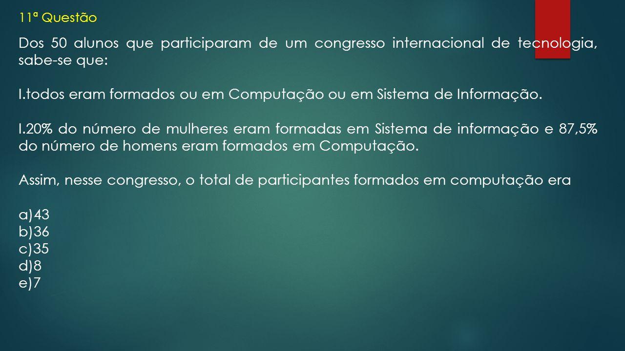11ª Questão Dos 50 alunos que participaram de um congresso internacional de tecnologia, sabe-se que: I.todos eram formados ou em Computação ou em Sist