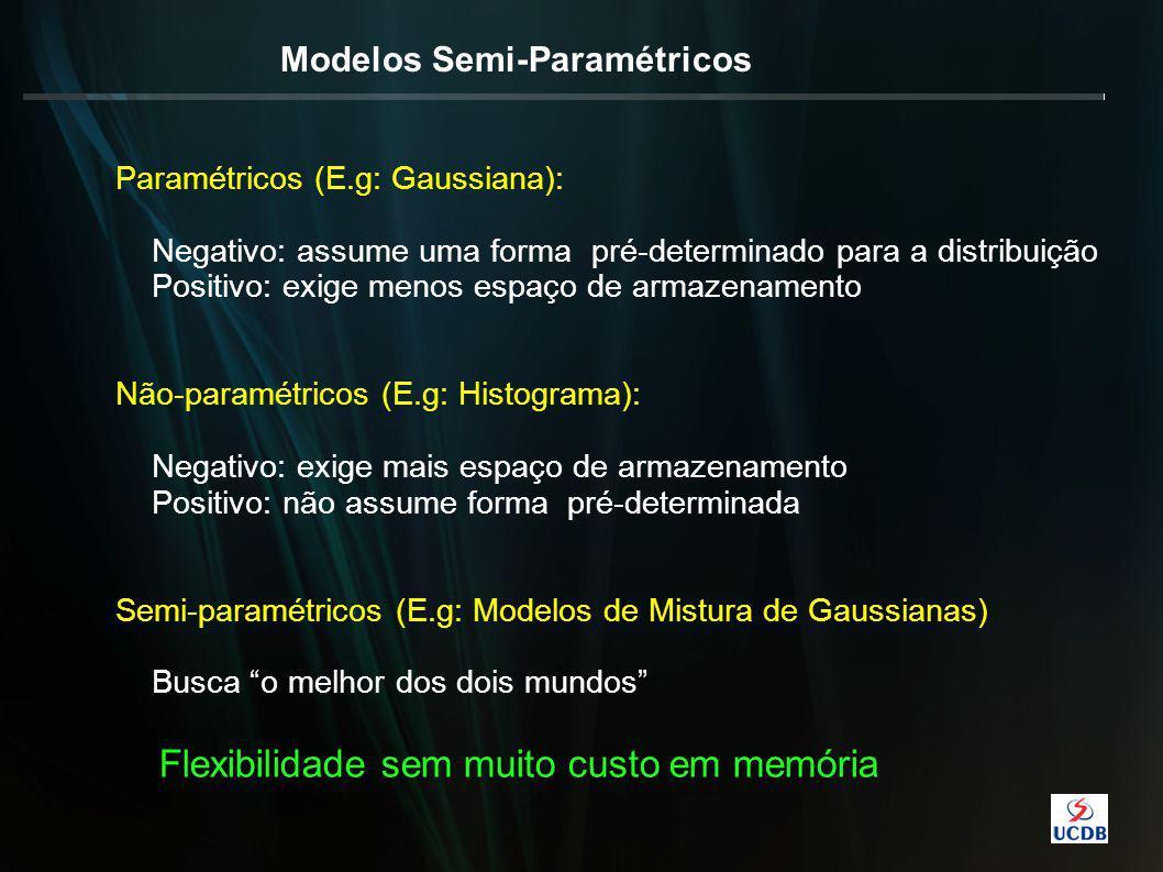 Modelos Semi-Paramétricos Paramétricos (E.g: Gaussiana): Negativo: assume uma forma pré-determinado para a distribuição Positivo: exige menos espaço de armazenamento Não-paramétricos (E.g: Histograma): Negativo: exige mais espaço de armazenamento Positivo: não assume forma pré-determinada Semi-paramétricos (E.g: Modelos de Mistura de Gaussianas) Busca o melhor dos dois mundos Flexibilidade sem muito custo em memória