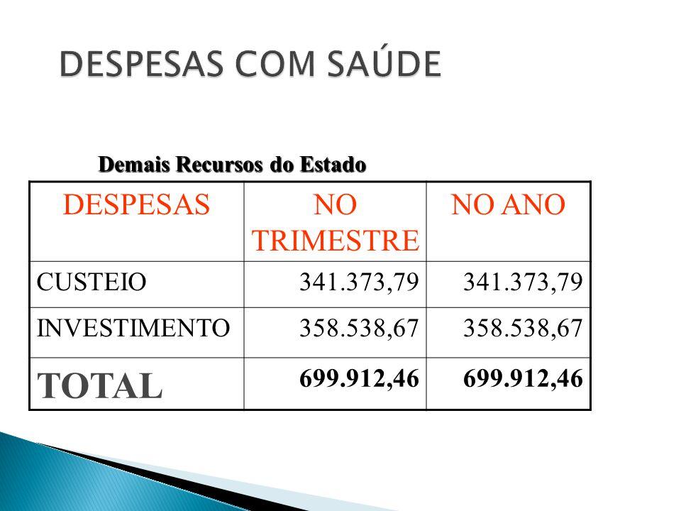 DESPESASNO TRIMESTRE NO ANO CUSTEIO 341.373,79 INVESTIMENTO 358.538,67 TOTAL 699.912,46 Demais Recursos do Estado