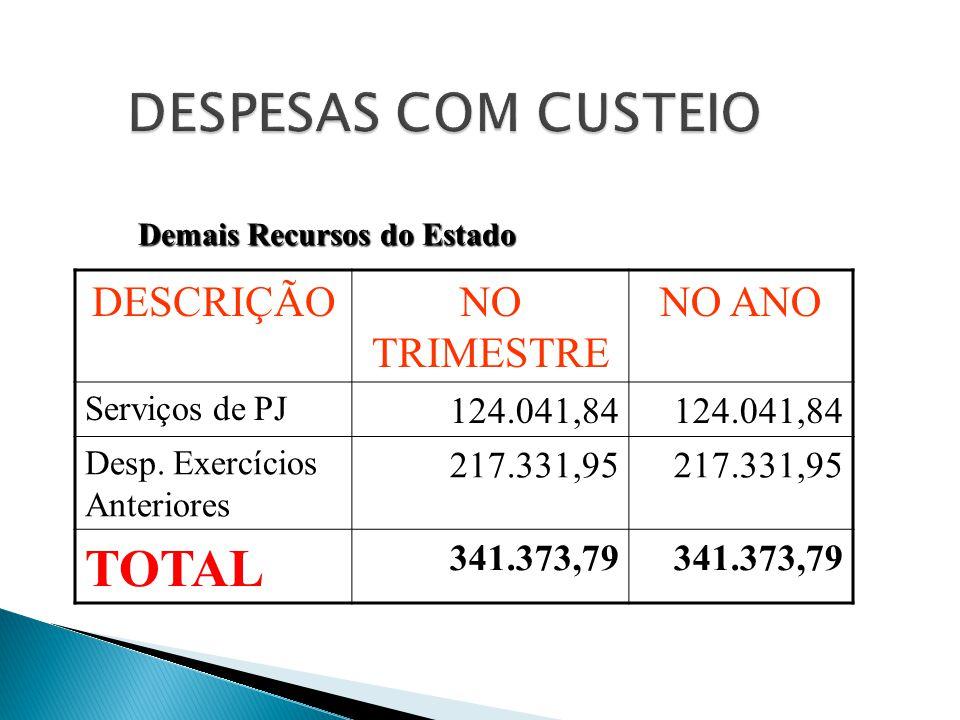 DESCRIÇÃONO TRIMESTRE NO ANO Serviços de PJ 124.041,84 Desp. Exercícios Anteriores 217.331,95 TOTAL 341.373,79 Demais Recursos do Estado