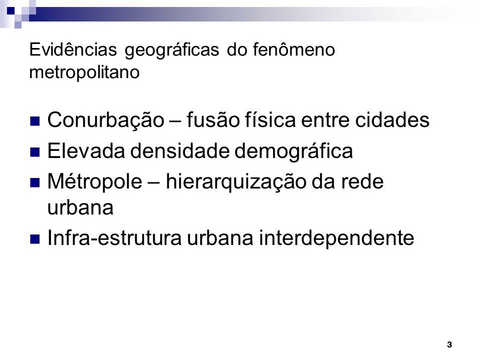 3 Evidências geográficas do fenômeno metropolitano Conurbação – fusão física entre cidades Elevada densidade demográfica Métropole – hierarquização da