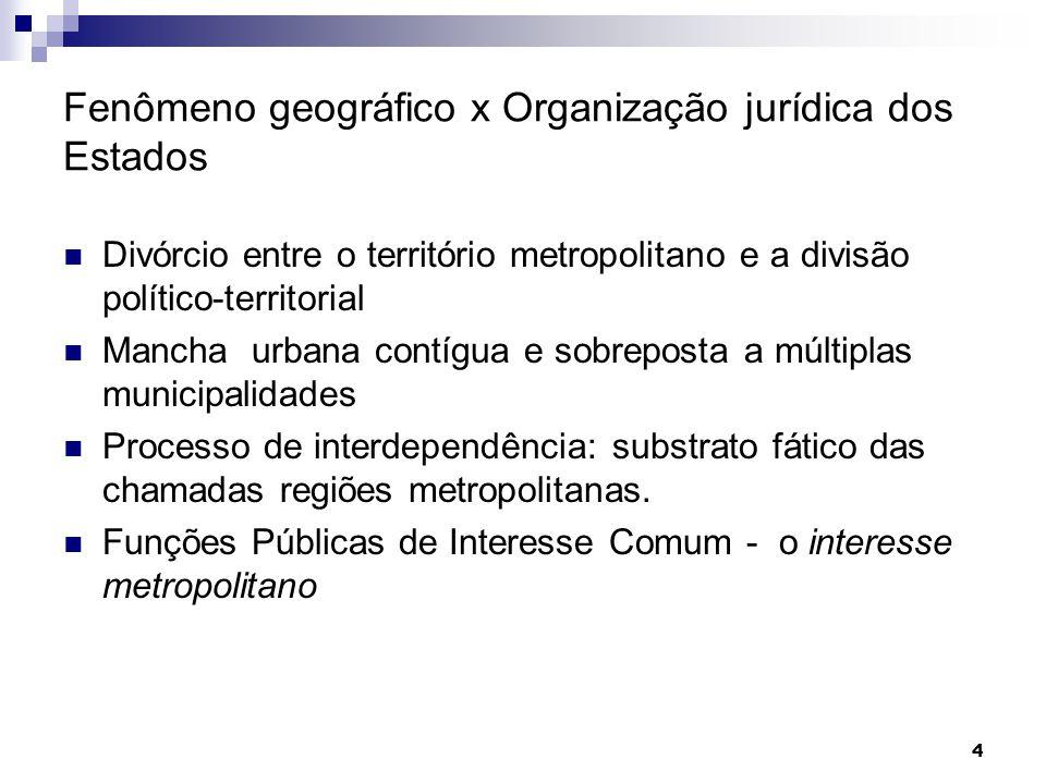 4 Fenômeno geográfico x Organização jurídica dos Estados Divórcio entre o território metropolitano e a divisão político-territorial Mancha urbana cont
