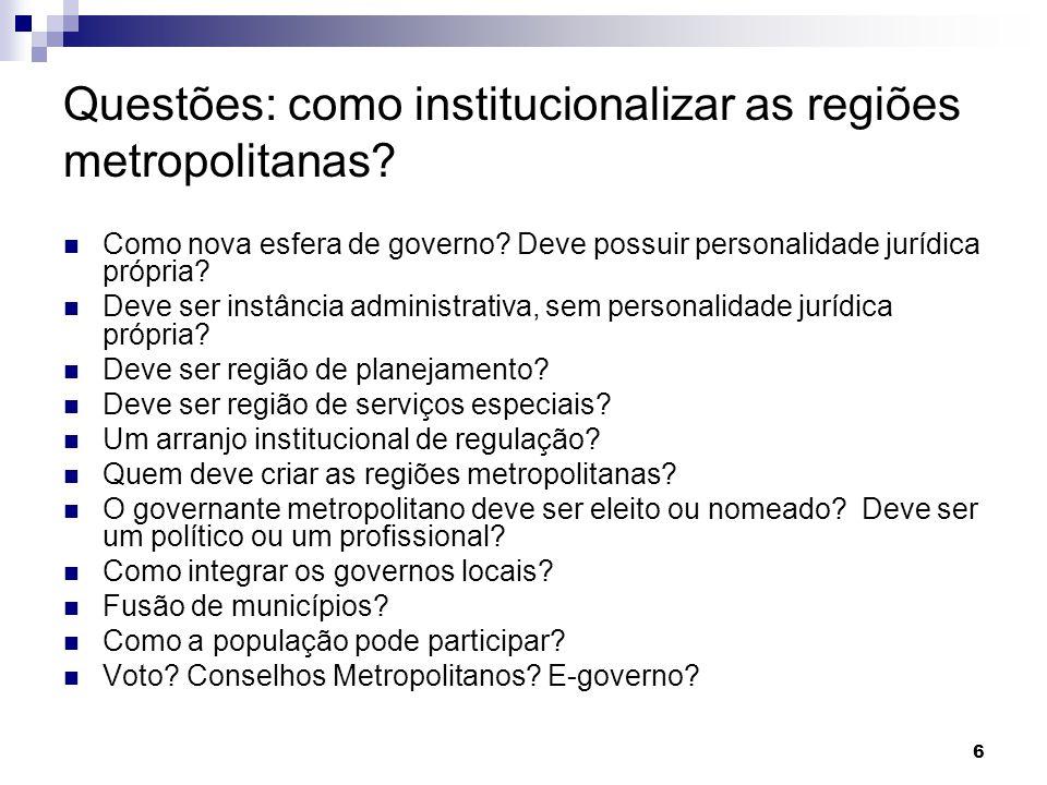 6 Questões: como institucionalizar as regiões metropolitanas? Como nova esfera de governo? Deve possuir personalidade jurídica própria? Deve ser instâ