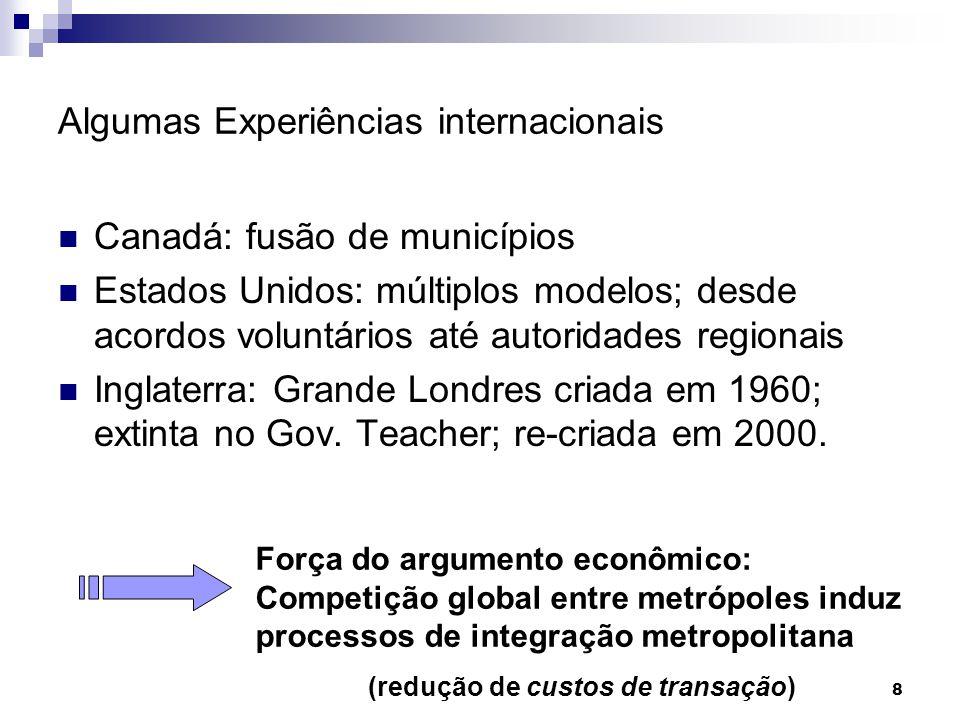8 Algumas Experiências internacionais Canadá: fusão de municípios Estados Unidos: múltiplos modelos; desde acordos voluntários até autoridades regiona