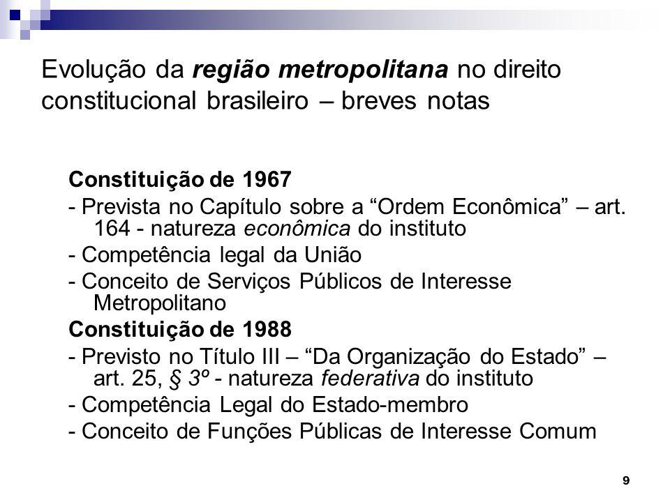 """9 Evolução da região metropolitana no direito constitucional brasileiro – breves notas Constituição de 1967 - Prevista no Capítulo sobre a """"Ordem Econ"""