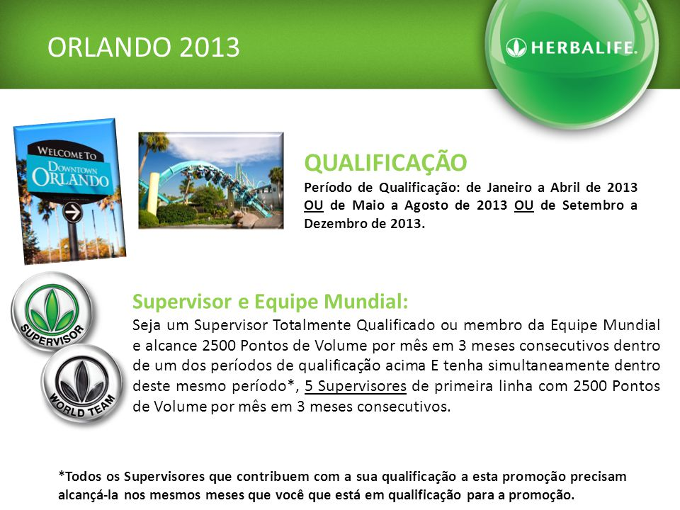 ORLANDO 2013 QUALIFICAÇÃO Período de Qualificação: de Janeiro a Abril de 2013 OU de Maio a Agosto de 2013 OU de Setembro a Dezembro de 2013.