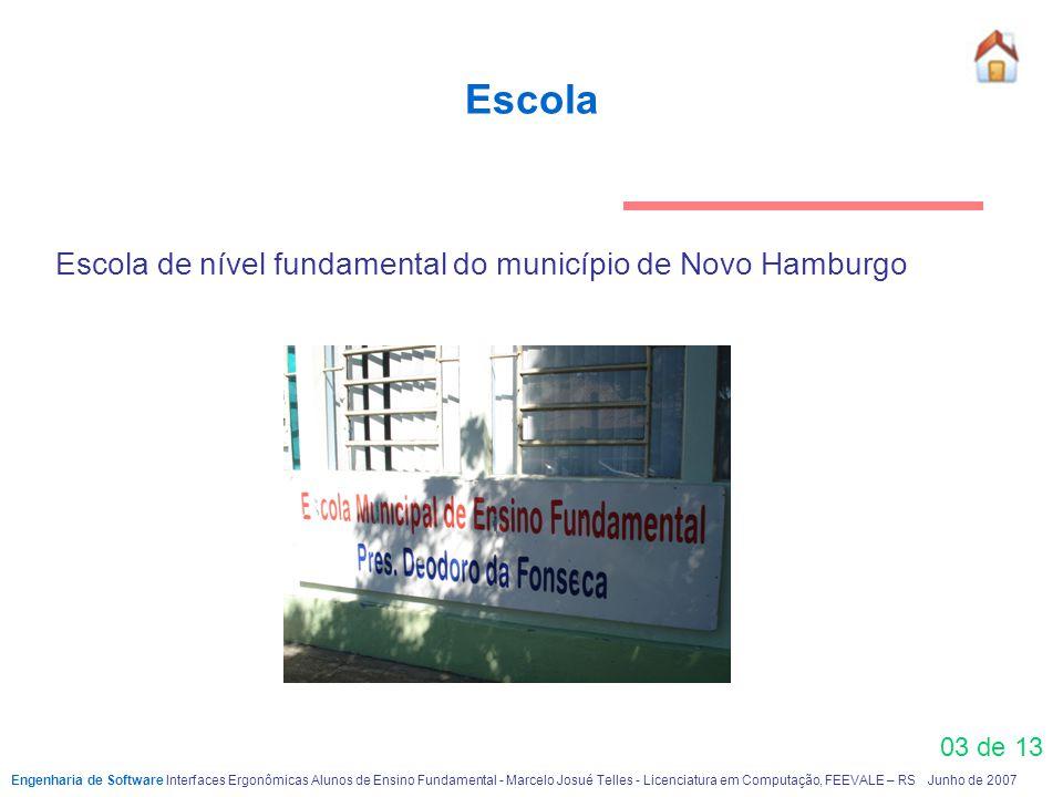 03 de 13 Escola Escola de nível fundamental do município de Novo Hamburgo Engenharia de Software Interfaces Ergonômicas Alunos de Ensino FundamentaI -