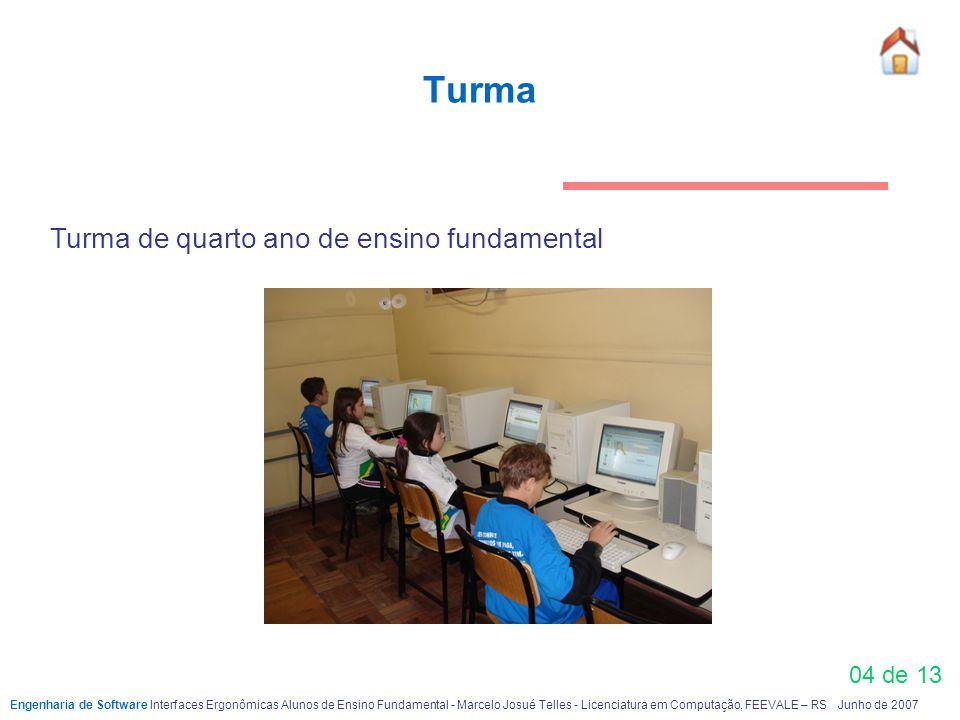 Turma 04 de 13 Engenharia de Software Interfaces Ergonômicas Alunos de Ensino FundamentaI - Marcelo Josué Telles - Licenciatura em Computação, FEEVALE