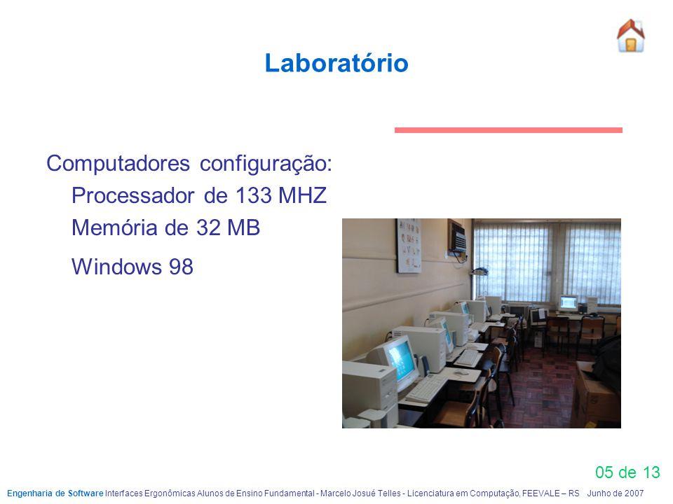 Laboratório 05 de 13 Computadores configuração: Processador de 133 MHZ Memória de 32 MB Windows 98 Engenharia de Software Interfaces Ergonômicas Aluno