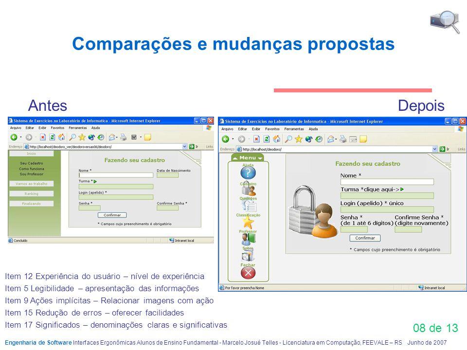08 de 13 Comparações e mudanças propostas Antes Depois Engenharia de Software Interfaces Ergonômicas Alunos de Ensino FundamentaI - Marcelo Josué Tell