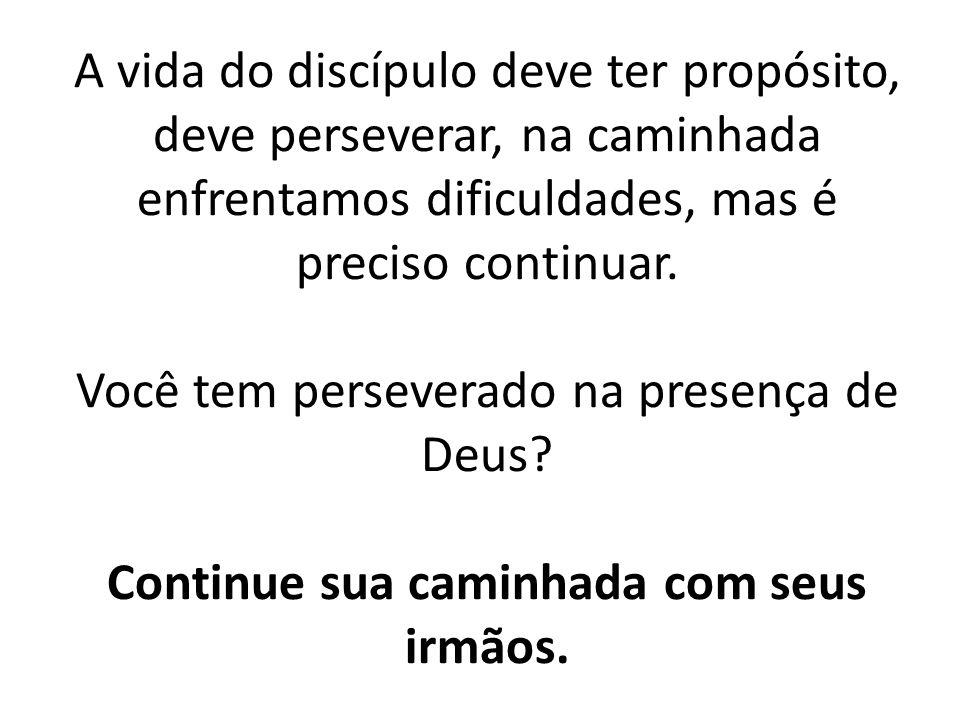 A vida do discípulo deve ter propósito, deve perseverar, na caminhada enfrentamos dificuldades, mas é preciso continuar. Você tem perseverado na prese
