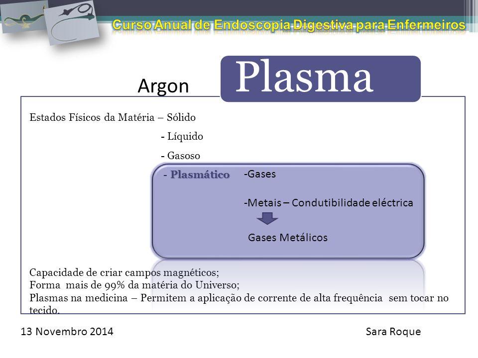 13 Novembro 2014Sara Roque Argon Plasma Estados Físicos da Matéria – Sólido - Líquido - Gasoso Plasmático - Plasmático Capacidade de criar campos magn
