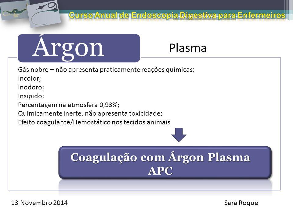 13 Novembro 2014Sara Roque Árgon Plasma Gás nobre – não apresenta praticamente reações químicas; Incolor; Inodoro; Insipido; Percentagem na atmosfera
