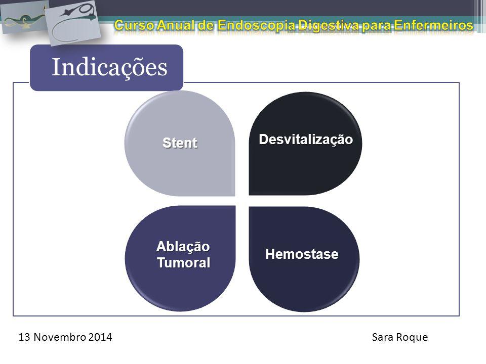 13 Novembro 2014Sara Roque Indicações Desvitalização Hemostase AblaçãoTumoral Stent