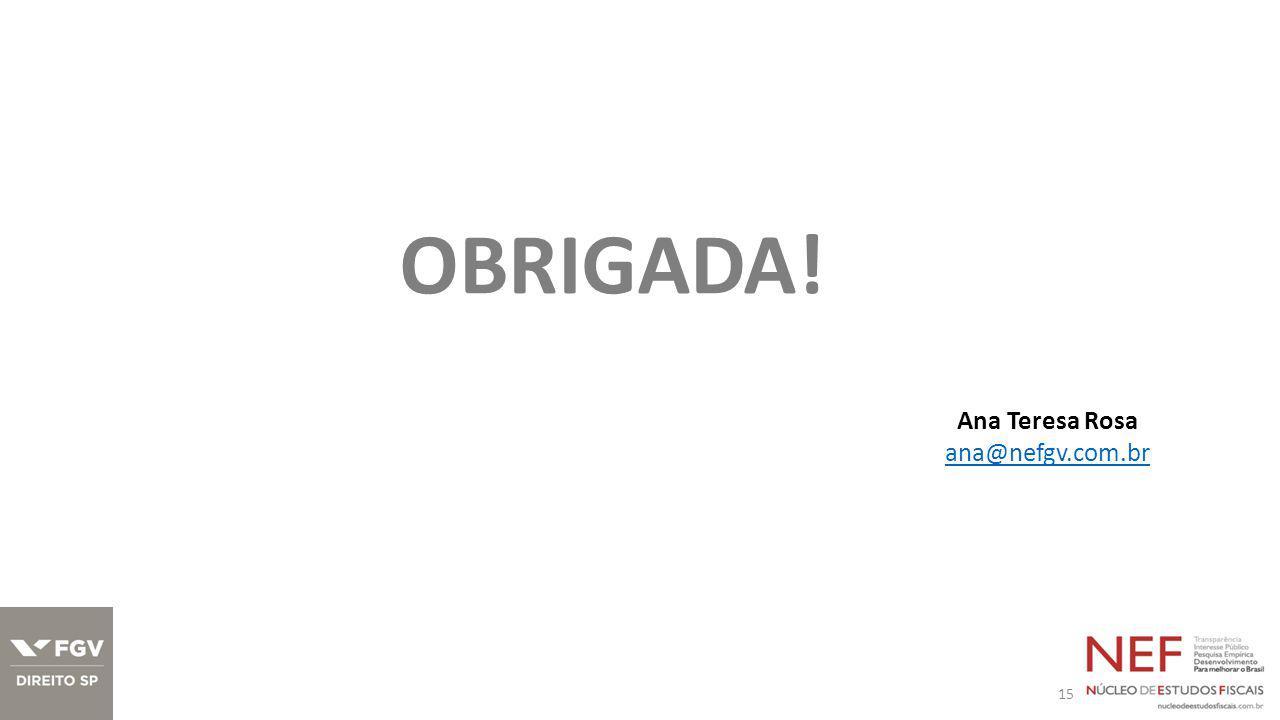 15 OBRIGADA! Ana Teresa Rosa ana@nefgv.com.br